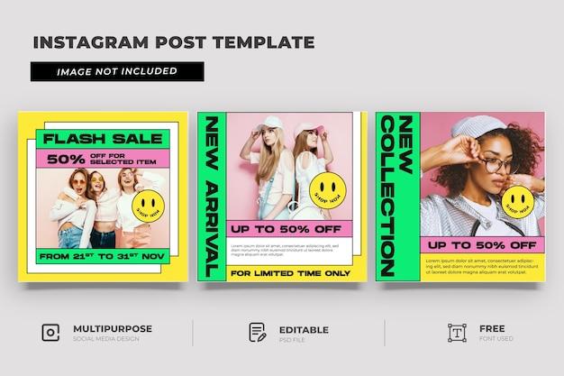Mode winkel sociale mediasjabloon met memphis-stijl Premium Psd