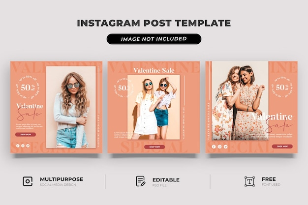 Mode winkel valentine verkoop sociale mediasjabloon