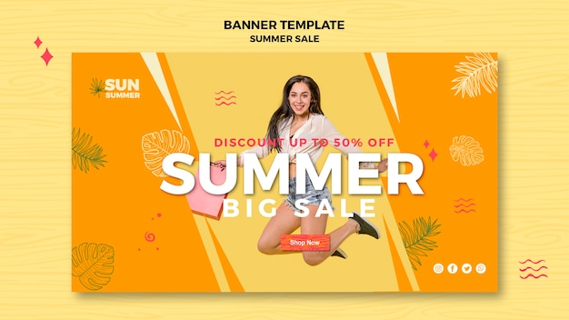 Model meisje zomer grote verkoop banner