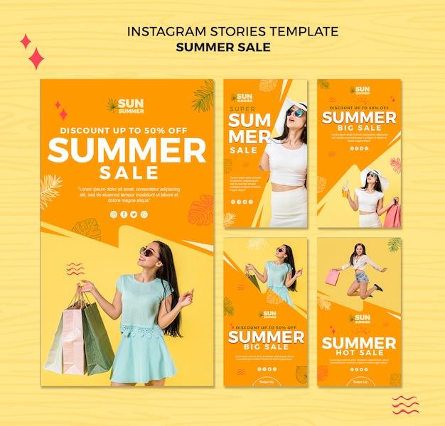 Model meisje zomer verkoop instagram verhalen sjabloon