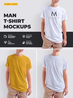 Model t-shirt ontwerp op een jonge man.