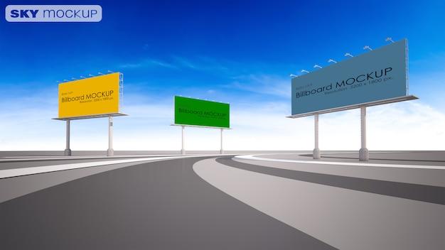 Modelbeeld van 3d teruggevend aanplakbord naast weg.
