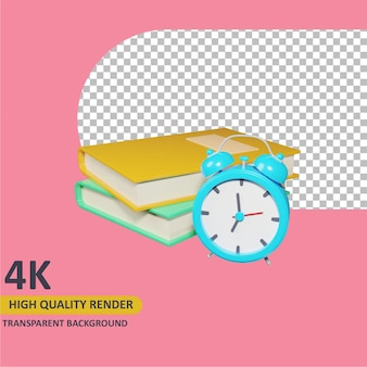 Modelleren van 3d-object render boek en wekker