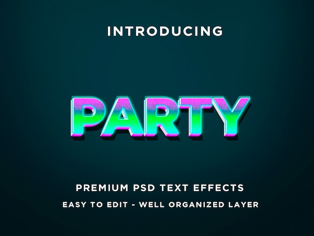 Modelli di effetti di testo del partito 3d