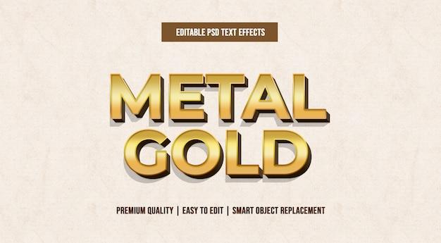 Modelli di effetti di testo modificabili in metallo dorato psd