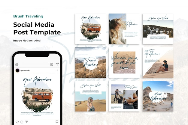 Modelli di instagram di banner di social media di avventura spazzolata di viaggio