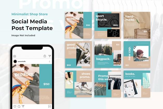 Modelli di instagram di social media vendita negozio minimalista negozio banner
