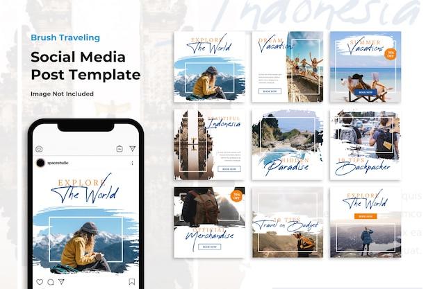 Modelli di instagram per banner social media di viaggi avventura pennello