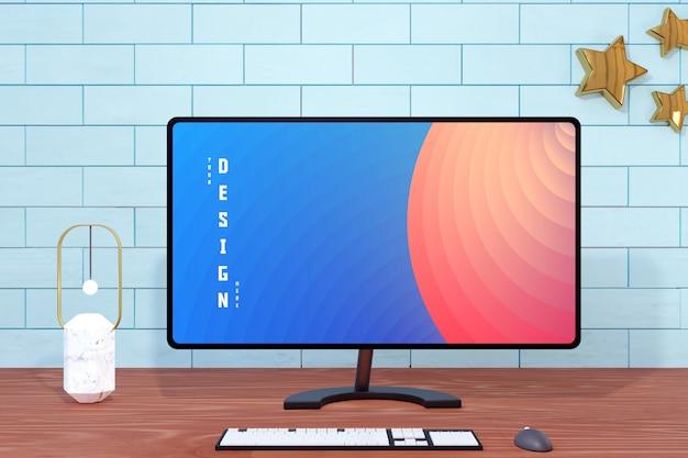 Modelli di mockup di schermo del computer desktop moderno