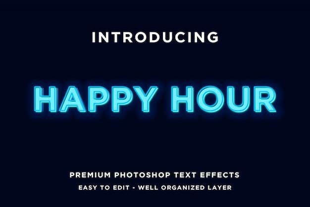 Modelli di testo stile neon happy hour