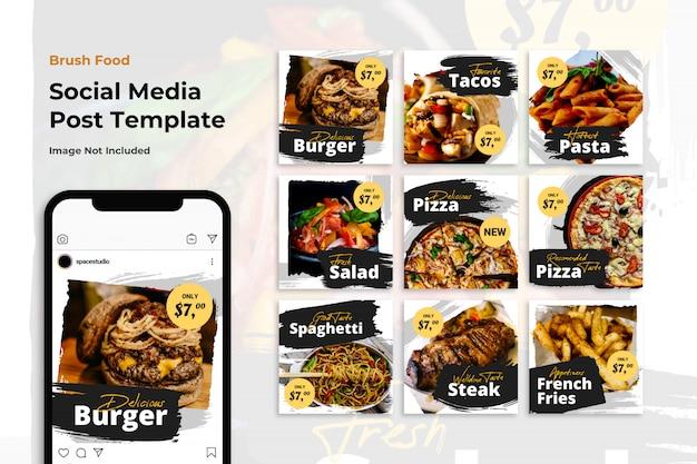 Modelli minimalisti di instagram di social media banner banner di cibo