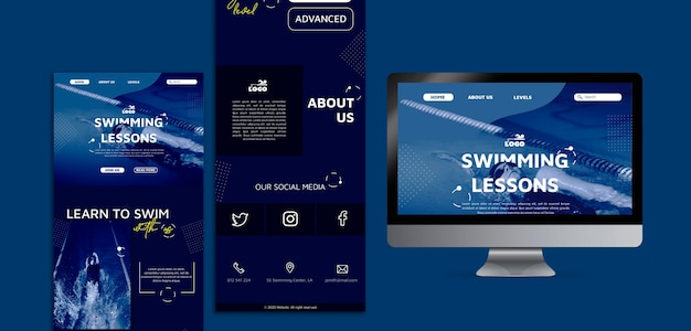 Modelli web di lezioni di nuoto con foto