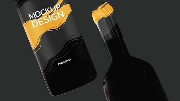 Modello 3d della bottiglia di vino che rende realistico