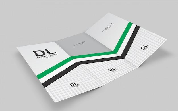 Modello a tre ante brochure mockup
