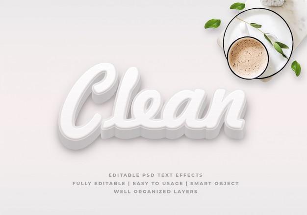Modello bianco pulito di effetto di stile del testo 3d