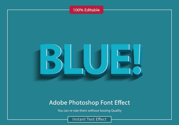 Modello blu di psd di effetto del testo 3d
