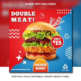Modello blu e rosso del fast food social media fast food
