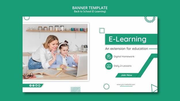 Modello creativo dell'insegna di e-learning con la foto