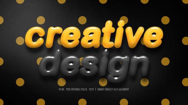 Modello creativo di stile del testo di progettazione 3d