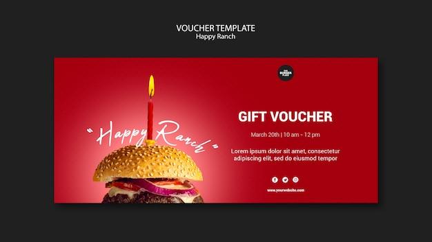 Modello del buono con regalo per ristorante di hamburger