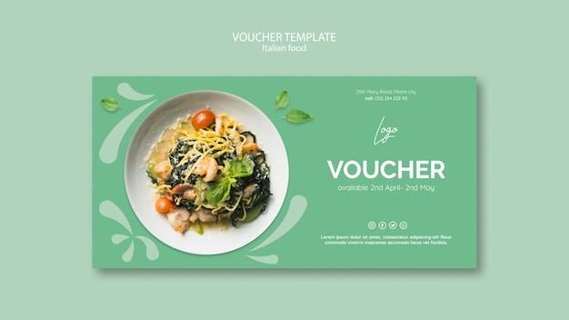Modello del buono con tema alimentare italiano