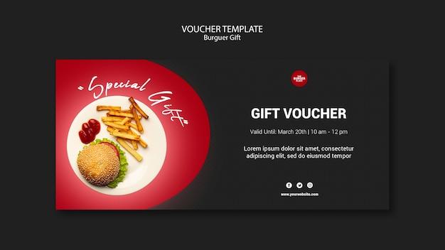 Modello del buono per il ristorante di hamburger
