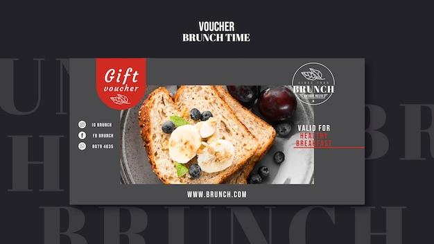 Modello del buono regalo del tempo del brunch