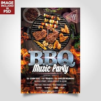 Modello del flyer del partito di musica del bbq