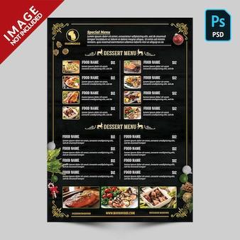 Modello del lato 02 del menu del libro di natale