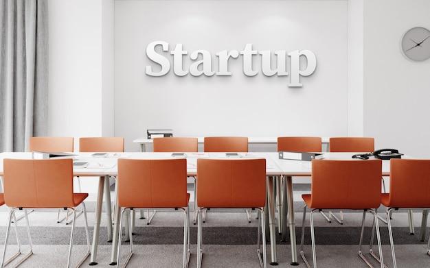 Modello del logo bianco dell'ufficio 3d nell'area di lavoro dell'interno semplice minima