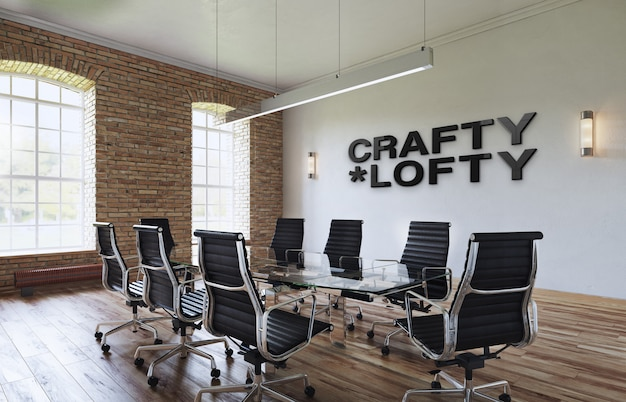 Modello del logo nero dell'ufficio 3d nell'area di lavoro dell'interno del sottotetto elegante di affari