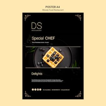 Modello del manifesto a4 del ristorante di cibo lunatico