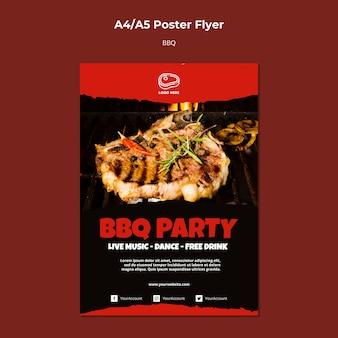 Modello del manifesto con il concetto del barbecue
