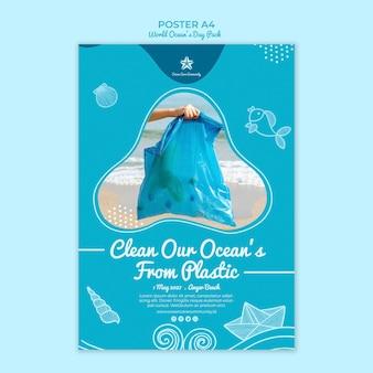 Modello del manifesto con la giornata mondiale dell'oceano