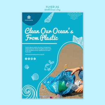 Modello del manifesto con progettazione di giornata mondiale dell'oceano