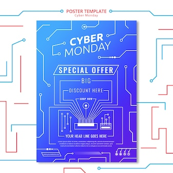 Modello del manifesto del circuito di cyber lunedì