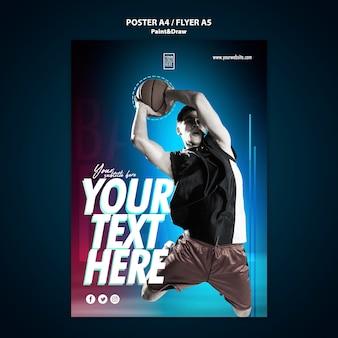 Modello del manifesto del giocatore di pallacanestro con la foto
