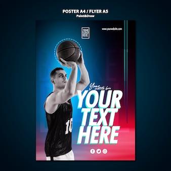 Modello del manifesto del giocatore di pallacanestro