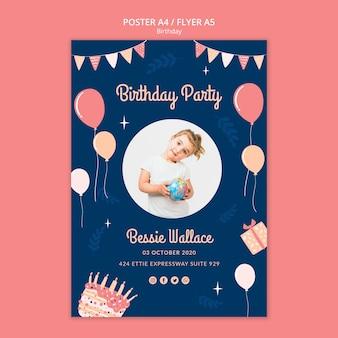 Modello del manifesto della festa di compleanno
