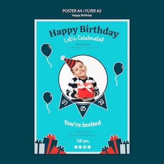 Modello del manifesto di celebrazione di compleanno