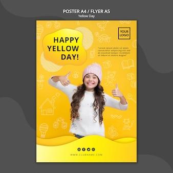 Modello del manifesto di concetto di giorno giallo