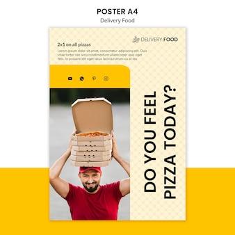 Modello del manifesto di consegna cibo