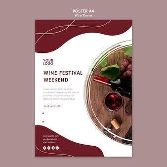 Modello del manifesto di fine settimana di festa del vino