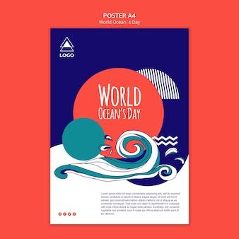 Modello del manifesto di giornata mondiale dell'oceano