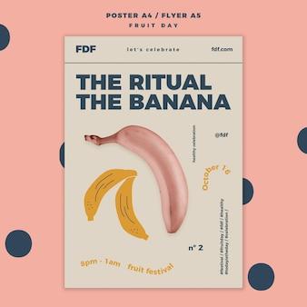 Modello del manifesto di giorno della frutta con i frutti illustrati