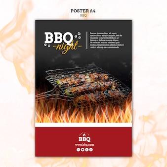 Modello del manifesto di notte e griglia barbecue