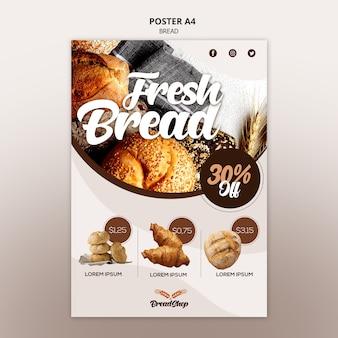 Modello del manifesto di promozione del pane fresco