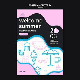 Modello del manifesto di scarabocchio di rosa del partito della spiaggia di estate