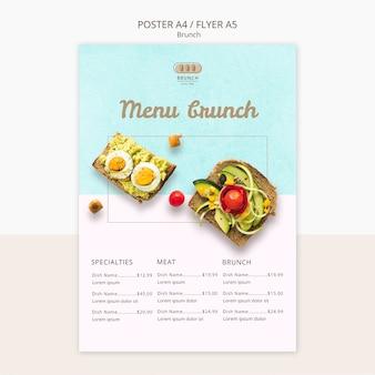 Modello del manifesto per il menu del brunch