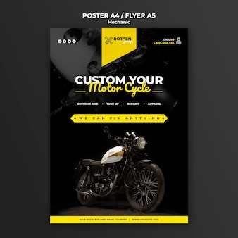 Modello del manifesto per l'officina riparazioni del motociclo